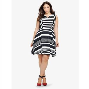 Torrid | Black/White Striped Fit & Flare Dress 3
